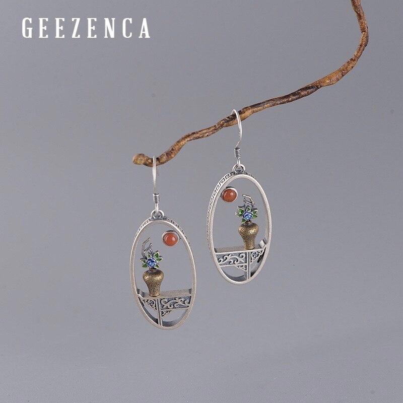 925 Sterling Silver Handmade Enameling Flower Vase Drop Earrings Unique Ethnic Vintage Earring  2020 Newest Fine Jewelry
