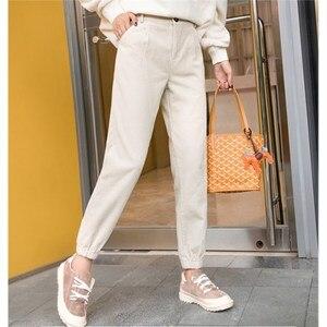 Image 4 - Pantalones de pana para mujer, pantalón de cintura alta, de talla grande pantalones bombachos, monos de moda, pantalones de viga para mujer, Otoño Invierno