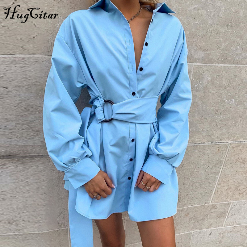 Hugcitar 2019 Cotton Long Sleeve Blouse Mini Dress With Belt Autumn Winter Women Streetwear Loose Sexy White Solid Outfits