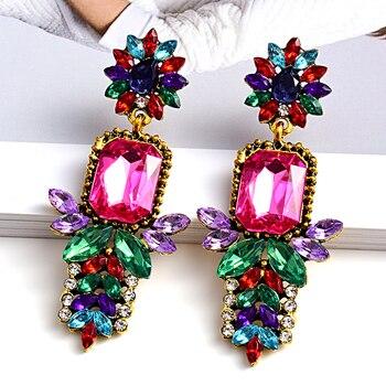 -Quality Metal Colorful Crystal Long Drop Earrings  4