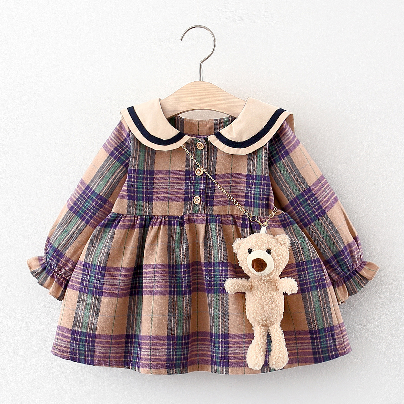 LZH Baby Girls Princess Dress Autumn Long Sleeve Plaid Dress British Style Newborn Baby Clothes