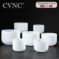 CVNC 6 -12 Note CDEFGAB set van 7PCS Chakra Frosted Quartz Crystal Klankschaal