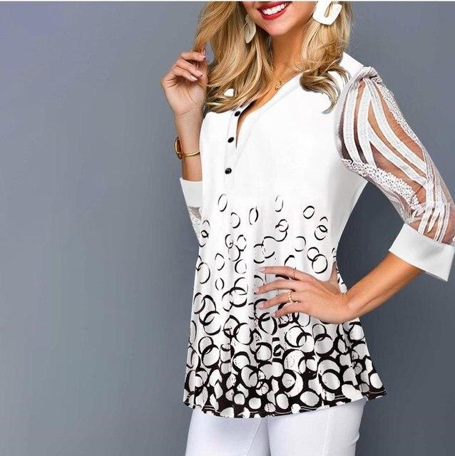 Plus Size 4xl 5XL Shirt Blouse Female 2020 Spring Summer New Tops V-neck Half Sleeve Lace Splice Print Boho Women shirt 3