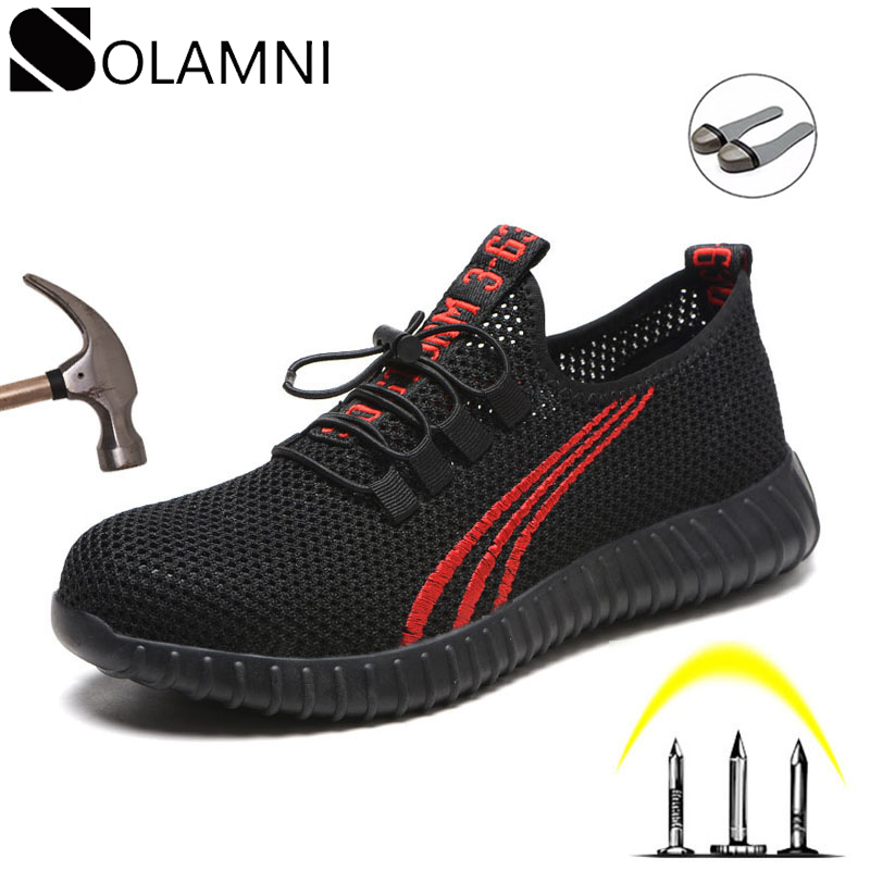Steel Toe Indestructible Mens Work Shoes Women Summer Light Safety Shoes Male Casual Breathable Mesh Sneakers Construction Shoes