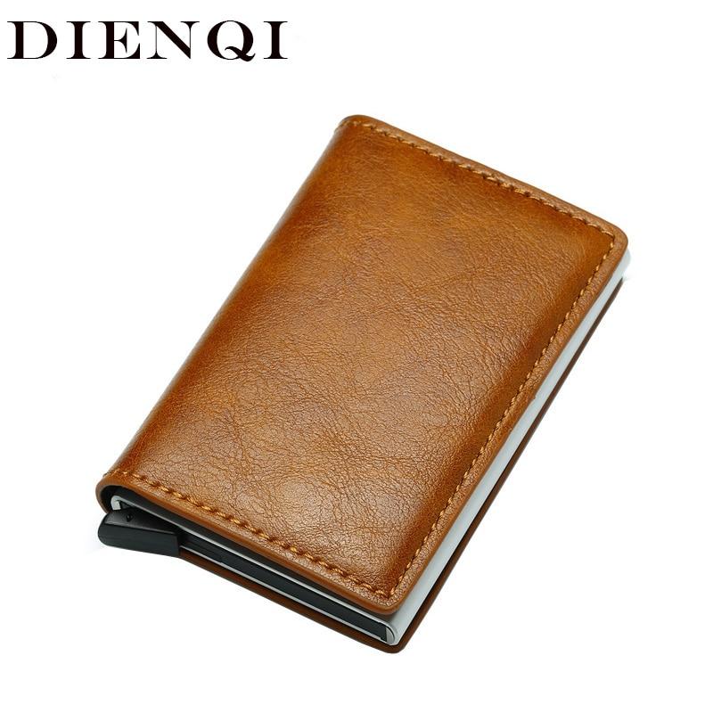 DIENQI Top Quality Wallets Men Money Bag Mini Purse Male Vintage Brown Leather Rfid Card Holder Wallet Small Smart Wallet Pocket