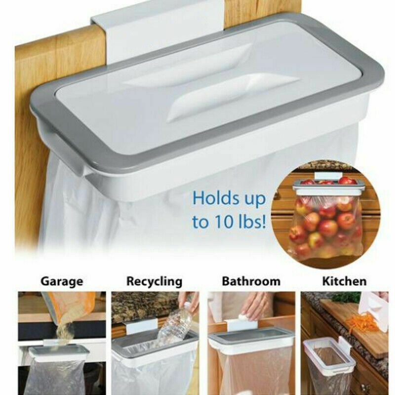 Hooking Type Kitchen Garbage Bag Holder Cabinet Rack Hanging Waste Bin Trash Storage Shelf