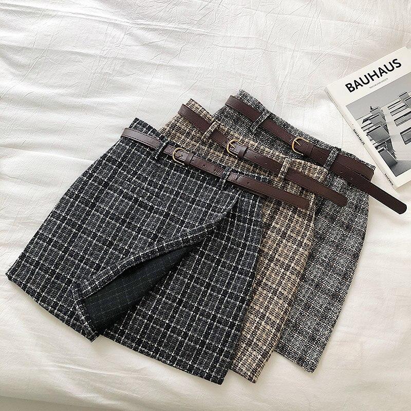 Vintage Women Plaid High Waist Mini Skirt 2