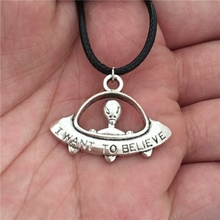 FEECOLOR 1PCS European Trendy Antique Silver I want to believe UFO ET Spaceship Pendant Leather Cord Choker Charm Alien Necklace