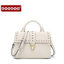 DOODOO Women PU Leather Fashion Messenger Bag Rivet Casual Cover Girl Shoulder Crossbody Famous Brand Design Bolsa  Candy