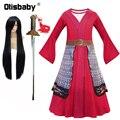 Платье Мулан для девочек; Костюмы принцессы на Хэллоуин для девочек; Mulan Wig; Китайское традиционное платье; Красное платье для детей; Hua Mulan Sword