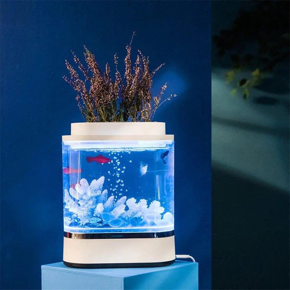 usb carregamento auto-limpeza aquário com 7 cores