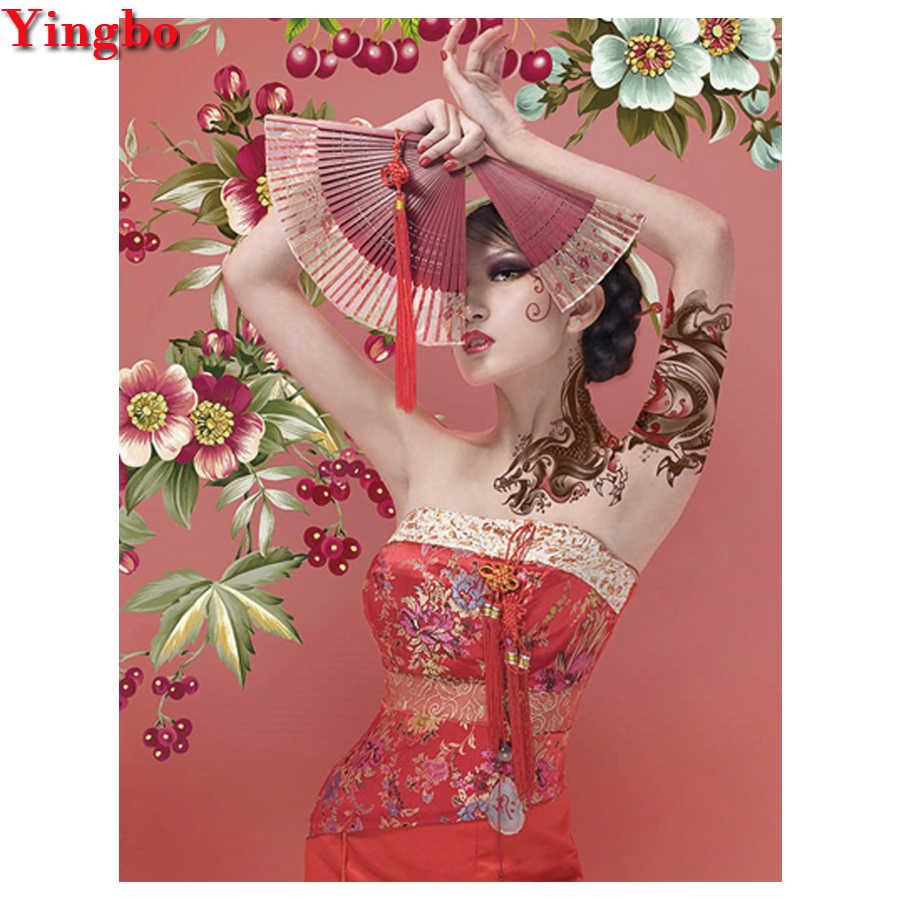 5d diy diamant malerei Japanischen frau voll platz runde bohrer Diamant mosaik mädchen Stickerei perlen kreuz stich wohnkultur