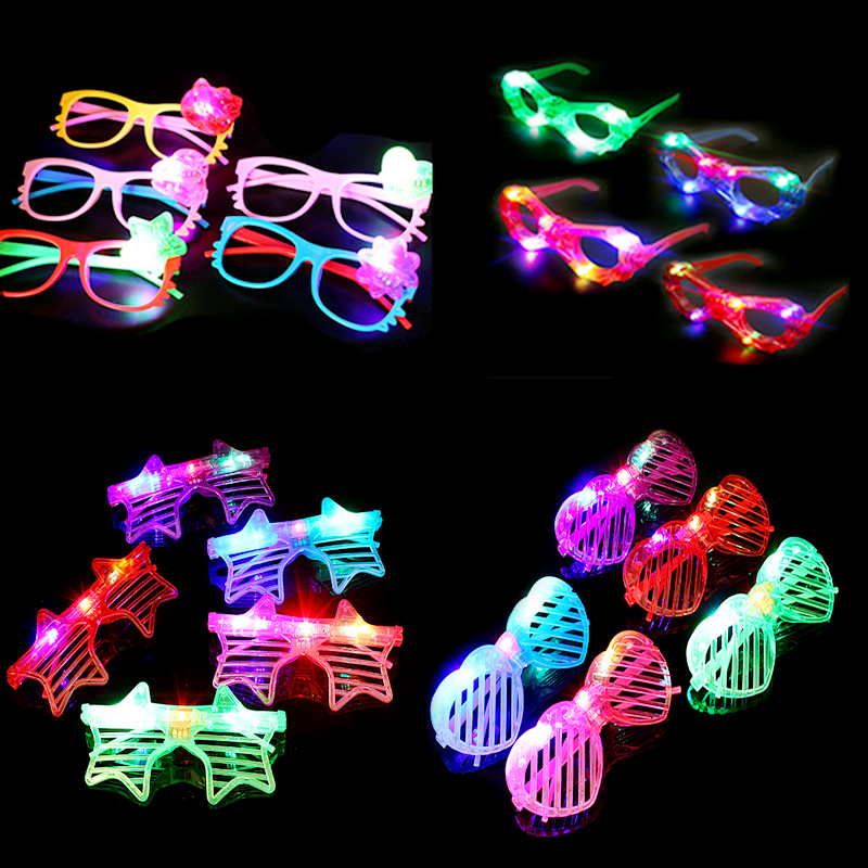 12Pcs Led Glasses Party Glasses Adult Carnival Cosplay Masquerade Accessories For Hair Festival Accessories Festa Neon