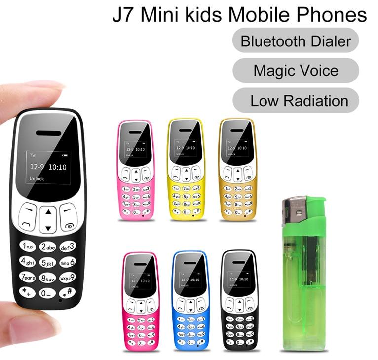 Миниатюрные детские мобильные телефоны с SIM-картой, Bluetooth наушники, волшебный голос, FM-радио, низкое излучение, MP3 Сотовые телефоны PK 7S + K8
