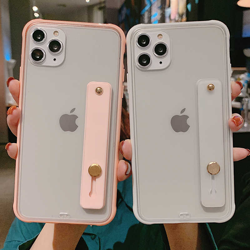 Transparante Bumper Shockproof Phone Case Voor Iphone 11 11 Pro Max Xr Xs Max X 8 7 6 6S plus Polsband Stand Hard Pc Back Cover