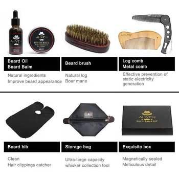 7 pcs/set Beard Care Modeling Tool Set Apron Bib Knife Brush Beard Care Suit And Shaping With Scissors As Gift 3