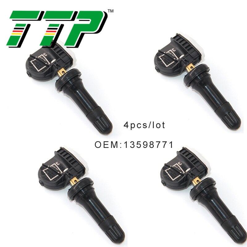 TTP 4PCS 13598771 TPMS Car Tire Pressure Sensor Monitoring Valve System For Chevrolet Silverado Suburban Tahoe Traverse 315Mhz