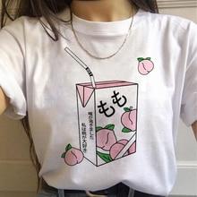 Peach Harajuku Small Fresh T Shirts Women Ullzang Korean Style T-shirts 90s Peachy Graphic Tshirts F