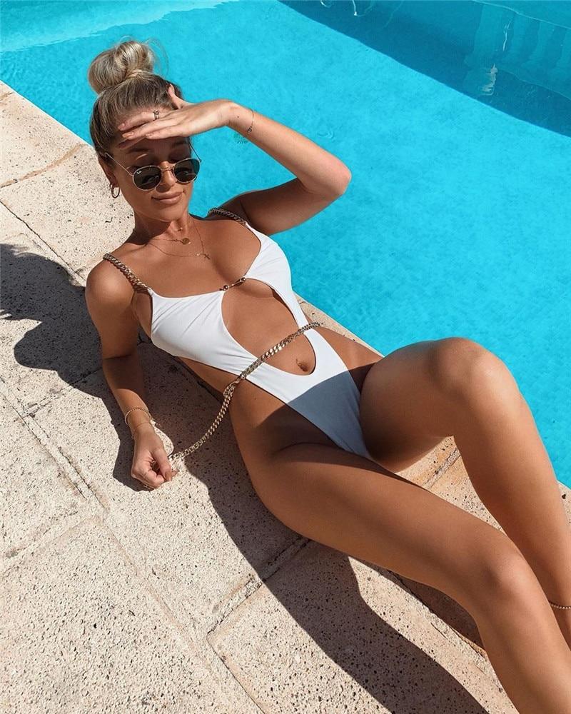 Nadafair chaîne une pièce maillots de bain femmes été Sexy Bikini évider brésilien Bikini noir maillot de bain femmes Biquini