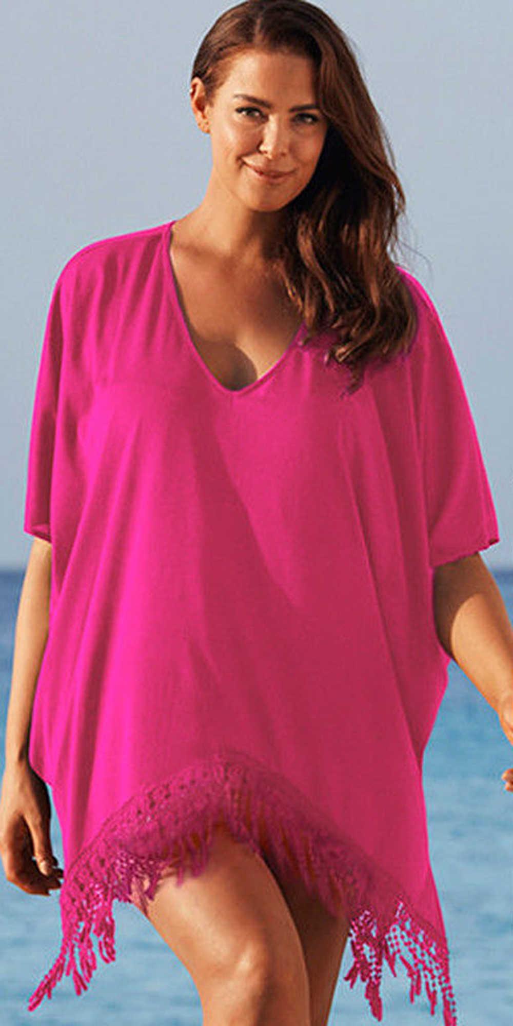 أنيقة تونك فساتين شاطئ حريمي تنورة المرأة حجم كبير السيدات بيكيني شرابة ملابس السباحة التستر فستان الشاطئ vestido playa larg