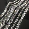 1 ярд широкий кристально прозрачные стразы отделочная для нашивки со стразами аппликацией клейкие ленты железа на клейкой основе, горячая ф...