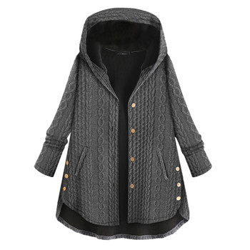 SAGACE Womens Autumn Winter Coats Casual Warm Outwear Solid Color Hooded Pockets Button Female Vintage Oversize Coats