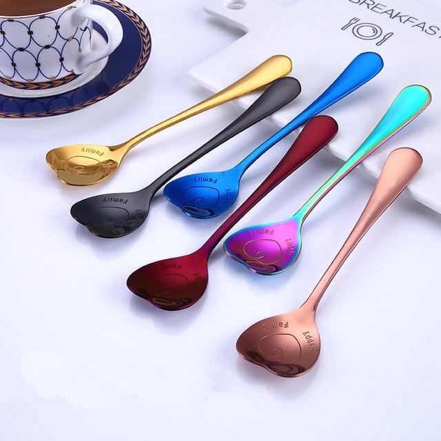 Cute 304 Stainless Steel Heart Spoons Tea Coffee Ice Cream Fruit Dessert Spoon Gold Black Teaspoon Tableware Wedding Decoration