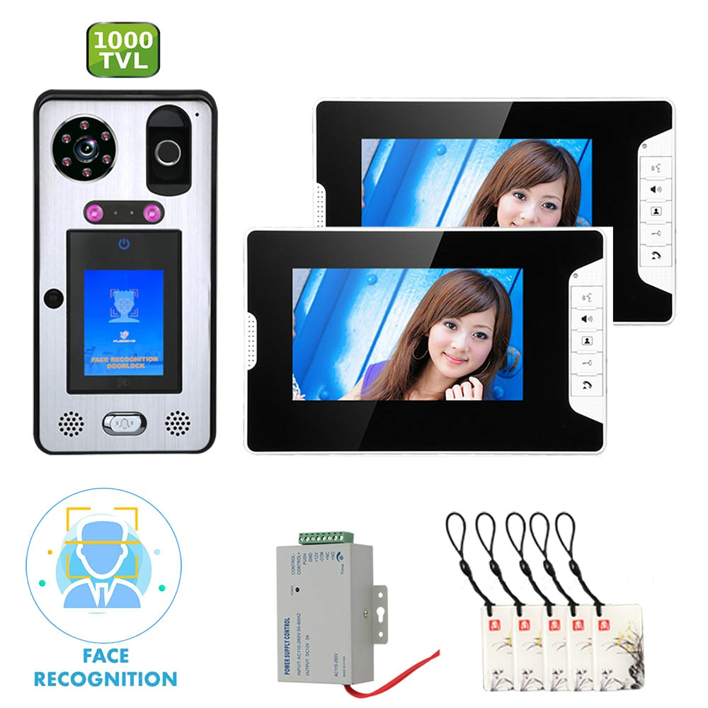 GAMWTER 7 Inch 2 Monitor Video Door Phone Doorbell Intercom System With Face Recognition  Fingerprint RFIC Wired  1000TVL Camera