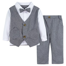 Baby Boys Suit For Wedding Toddler Formal Gentleman Tuxedo Infant Long Sleeve Outfit Kids Baptism Birthday Party Costume 2PCS(China)