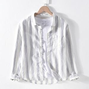 Image 2 - 男性春の秋のファッションブランドリネン長袖身廊ブルーストライプパッチワークターンダウン襟カジュアル古典的な男性のシックなシャツ