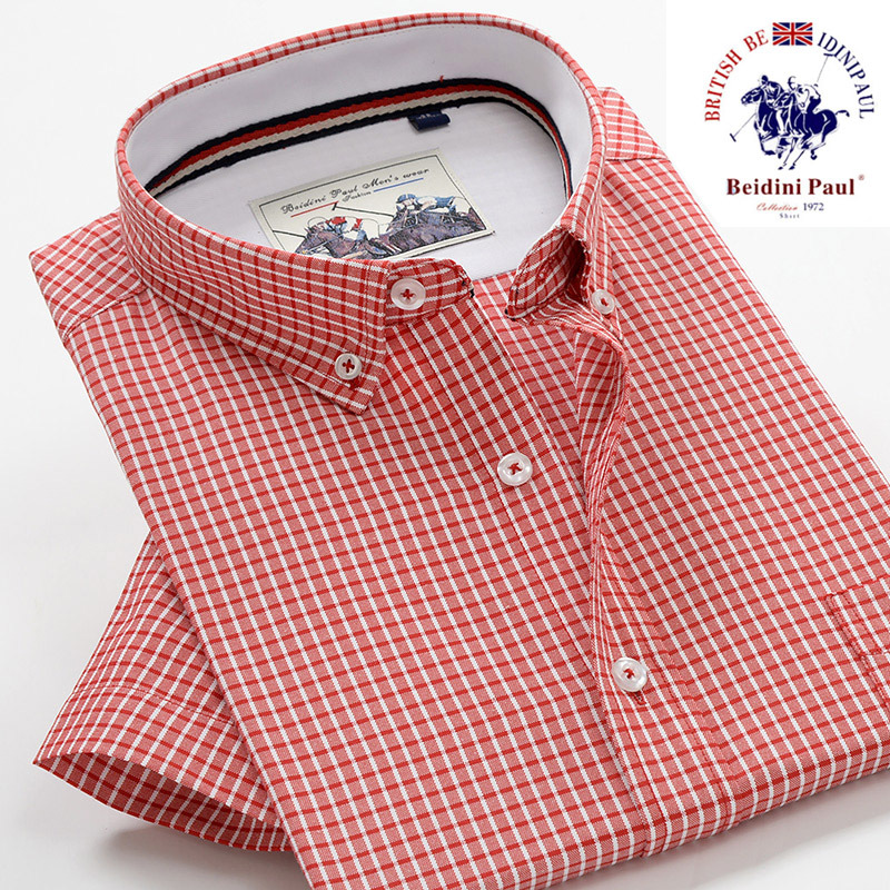 Polo Short-sleeved Shirt Men's Summer Business Casual Plaid Large Size Shirt Youth Loose Version Of Plus-sized Shirt