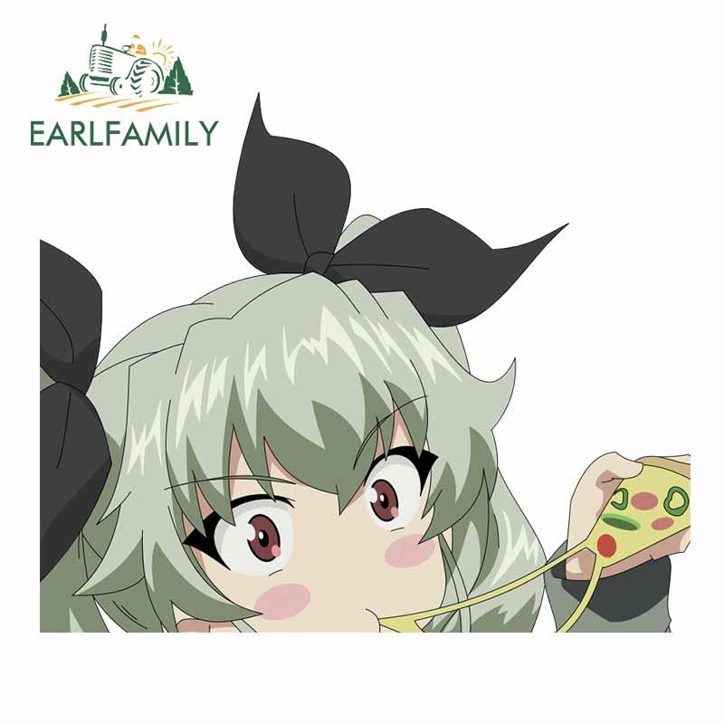 EARLFAMILY 13cm x 10,9 cm für Mädchen Und Panzer Anime Auto Aufkleber Cartoon Windschutzscheibe Aufkleber Scratch-Proof Stoßstange dekoration