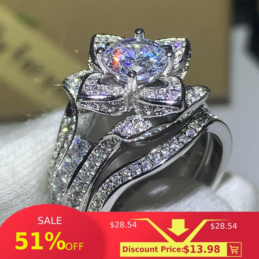 3PCS Hot Sale New 2020 Luxury Jewelry 925 Sterling Silver Round Cut 5A CZ Diamond Women Wedding Band Ring For Lovers' Gift