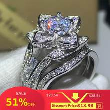 3PCS Hot Sale New 2020 Luxury Jewelry 925 Sterling Silver Round Cut 5A CZ Diamond Women Wedding Band Ring For Lovers' Gift(China)
