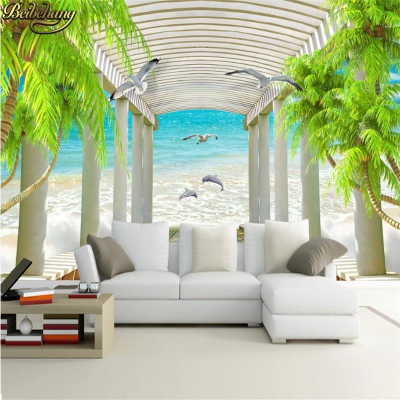 Beibehang Kustom Ocean Palm Tree Wallpaper Dinding 3d Berjalan Promenade Lukisan Dinding Ruang Tamu Sofa Kamar