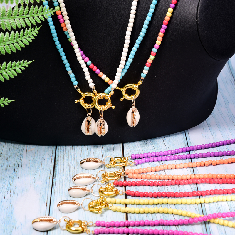 Beads Necklace Shell-Choker Collier Cowrie Boho Chic Moon Girl Trendy Bohemian Colorful