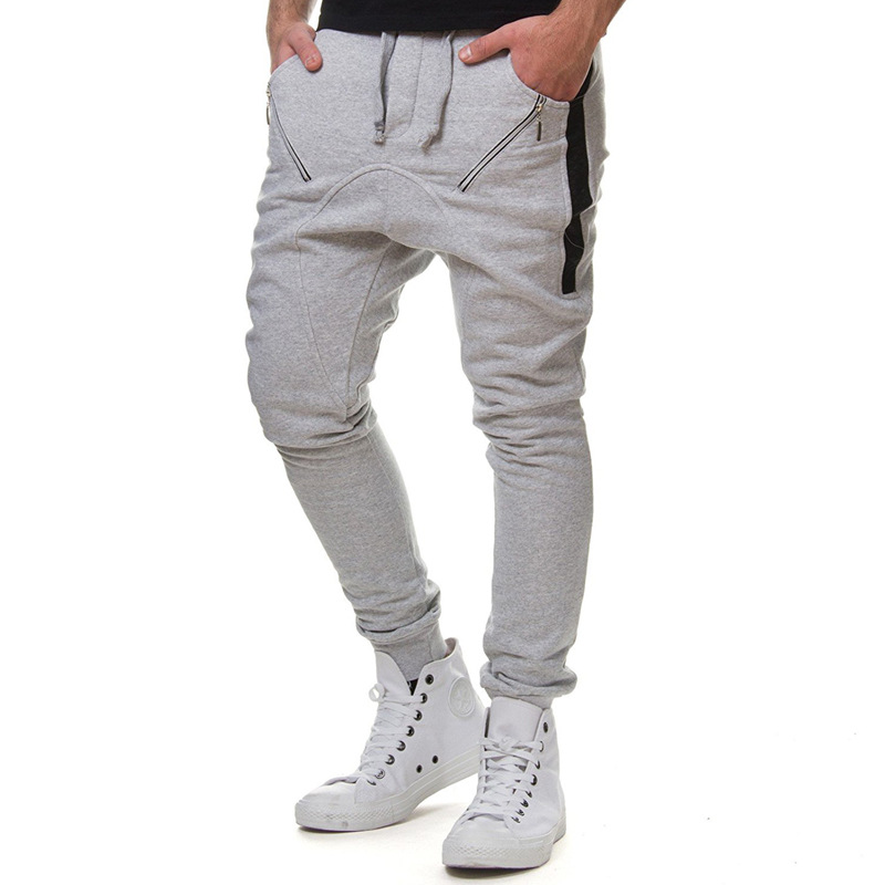 2019 New Style Men Fashion Zipper Joint With Drawstring Elastic Athletic Pants Men's Harem Casual Pants 7432