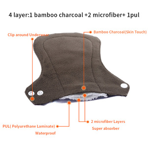 Image 5 - [simfamily] 10pcs organic Bamboo Charcoal washable Hygiene menstrual pads Heavy flow sanitary pads lady cloth pad reusable pads