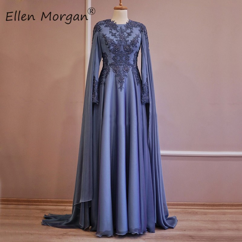 Arabic Moroccan Long Sleeves Musilm Evening Dresses Party Elegant For Women Dubai Caftans Chiffon Lace Vintage Prom Gowns