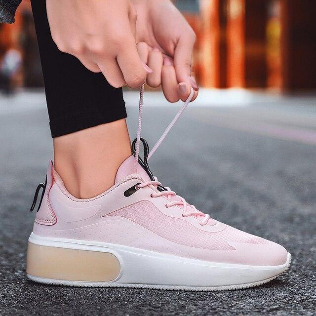 Zapatillas de deporte de tacón alto para mujer, zapatos femeninos de plataforma, color rosa, a la moda, estilo coreano, ligeros, vulcanizados 4