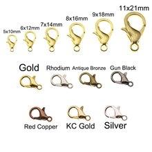 10/12/14/16/18/21mm Silver Gun Black Metal Lobster Clasps Hooks Bracelet End Connectors For Jewelry Making DIY Necklace Buckle