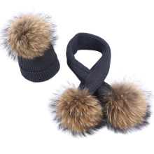 New Winter Hat Scarf Set With Fur Pompom Ball Baby Girls Boy Real Raccoon Knitted Caps Baby Children Hats Kids Warm Beanie Suits cn rubr hot 2017 fashion winter warm neck wrap fox scarf caps cute children wool knitted baby shawls hooded cowl beanie caps