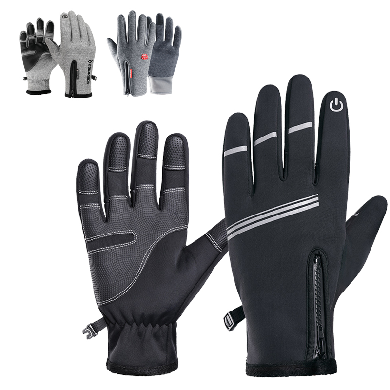 Windproof Touch Screen Warm Gloves Leather Fleece Thermal Cycling Full Finger