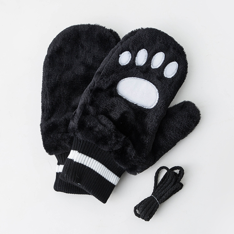 Cute Animal Paw Stain Winter Gloves For Girls Boys Thick Warm Outdoor Gloves Mittens Wool Student Outdoor Mittens Keep Warm