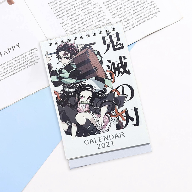 2021 Anime Demon Slayer Kimetsu No Yaiba Desk Calendar Kamado Tanjirou Cartoon Figure Desk Calendars Daily Schedule Planner 1PC 5