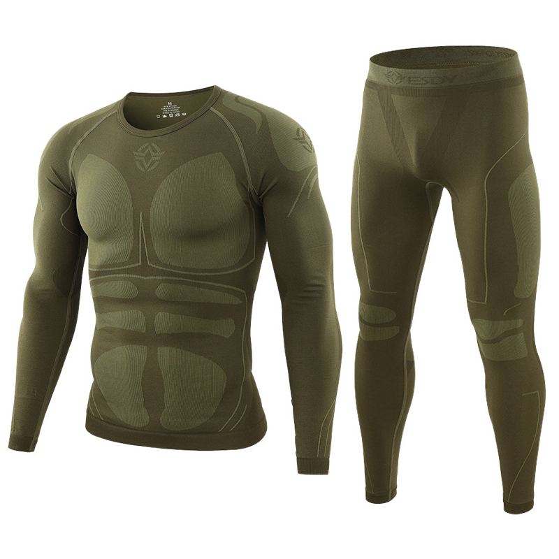 Warm Autumn Winter Long Sleeve Outdoor Thermal Underwear Set Fleece Slim Fit Army Tactical Hiking Military Clothes Top + Pants C