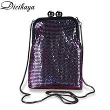 DICIHAYA Iridescence Aluminium Women Evening Bags Lady Wedding Party Shoulder Bags Phone Bag For Gift Party Clutch Chain Bag