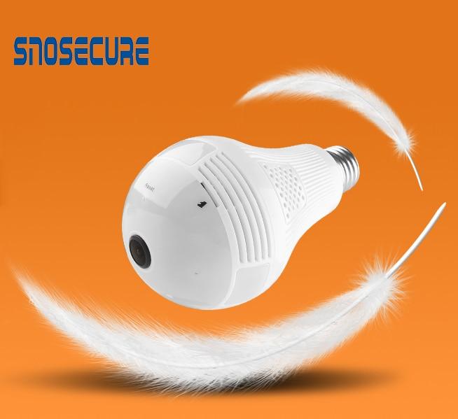 Snosecure 360 graus 960 p câmera ip sem fio lâmpada fisheye inteligente sem fio cctv câmera 1.3 & 2.0mp panorâmica de segurança wifi cam