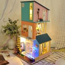 Electric LED Light Creative DIY House Craft Model Kids Toy 3 Layers Villa Art  Romantic Beauty Landscape Model Toys For Children