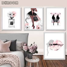 Fashion Wall Art Perfume Lips Poster Nordic Print High Heels Canvas Painting Woman Pictures for Living Room Modern Decoration